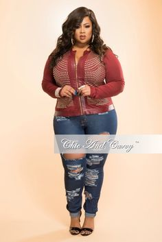 New Plus Size Jacket with Studded Swirl Design in Burgundy – Chic And Curvy