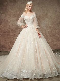 75f0cfd8a7bf1ea Champgne Ball Gown Tulle Sequins Puff Sleeve Backless WeddingDress