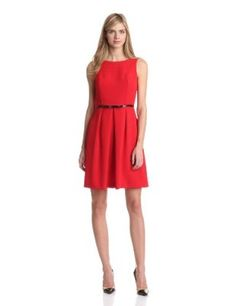 Adrianna Papell Women's Seamed A-Line Dress, Red, 12 : Shopping Reviews