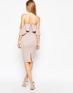 ASOS | ASOS Textured Cold Shoulder Ruffle Midi Dress at ASOS