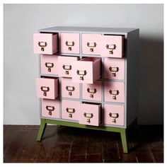 Librarian' Chest of 16 Drawers via Heima Pretty In Pink, Little Girl Rooms, Pink Cards, My Living Room, Cubbies, Home Accents, Home Organization, Decoration, Painted Furniture