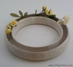 Stoneware Ring Vase - Wheel Thrown Ceramic Pansy Ring - Home Décor - Flower Arranger - Centerpiece - Ready to Ship -Speckle White  v576