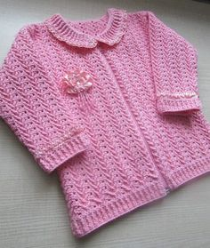 Crochet beautiful and unusual pink sweater for a little girl. Free patterns for crochet crochet Crochet Toddler Sweater, Crochet Baby Sweater Pattern, Crochet Baby Sweaters, Baby Sweater Patterns, Baby Girl Sweaters, Baby Girl Crochet, Crochet Jacket, Crochet Clothes, Crochet Patterns