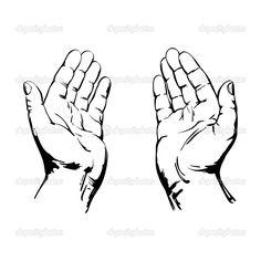 Downloaden - Sketch van Biddende handen tekenen realistische vectorillustratie — Stockillustratie #21211045