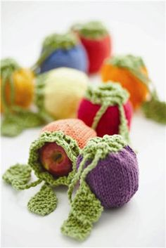 Ravelry: Fruit Cozies (Knit) pattern by Bernat Design Studio Crochet Motifs, Knit Or Crochet, Learn To Crochet, Knitting Projects, Crochet Projects, Yarn Crafts, Diy Crafts, Knitting Patterns, Crochet Patterns