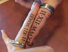wedding band tattoos roman numerals, Roman Numeral Tattoos, wedding date in Roman numerals on ring finger