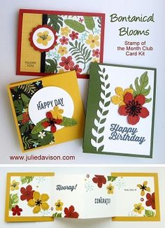 Julie's Stamping Spot -- Stampin' Up! Project Ideas by Julie Davison: Stampin' Up! Botanical Blooms Cards - Customize the Designer Paper with Stamps