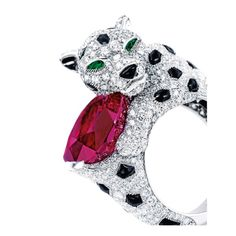 Rare Ruby, Diamond and Onyx 'Panthère' Ring, Monture Cartier Designed as a panther with a head that swivels, the body pavé-set with numerous circular-cut diamonds together weighing approximately 2.00 carats, flecked by onyx, highlighted by a cushion-shaped ruby weighing 10.62 carats, accented by emerald-set eyes, mounted in platinum, signed MT Cartier and numbered AJE935, with French assay mark. Ring size: 6 by colleen