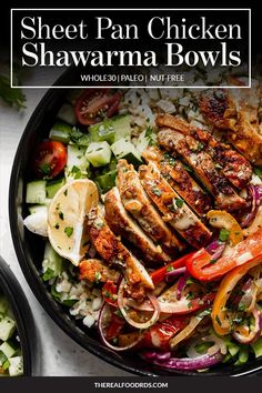 Sheet Pan Chicken Shawarma Bowls - The Real Food Dietitians Indian Food Recipes, Paleo Recipes, Real Food Recipes, Chicken Recipes, Ethnic Recipes, Yummy Recipes, Cooking Recipes, Weekend Meal Prep, Dinner Show