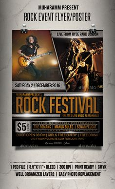 Rock Event Flyer / Poster Template PSD
