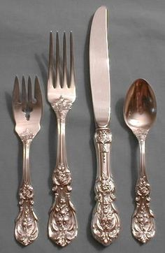 My Francis Sterling flatware.adore the different fruits on each piece- mom started the collection for me as a child
