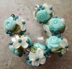 BLISS Harborside Rose Floral Abundance Lampwork Bead Set | blissfulgardenbeads - Jewelry on ArtFire - $42