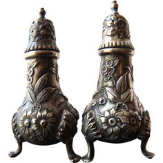 S. Kirk & Son Co. Repousse Sterling Silver Salt & Pepper Shakers