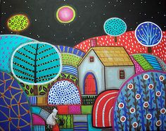 Precious 14X11 Canvas Folk Art Abstract Painting Original Modern Unique Karla G | eBay