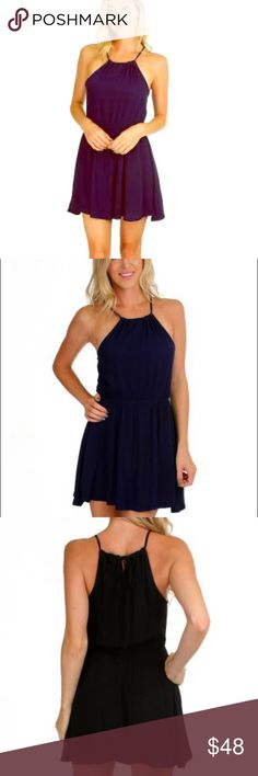 """Shift This Way"" Navy & Black  Dress Intricate all over crinkles bring this shoulder-bearing halter dress to life.  100% Rayon Runs true to size Model is wearing a size small Hand wash cold, do not bleach. Hang or line dry. Made in the USA The Haute Holly-Would Hive LLC Dresses Mini"