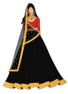 A Maroon Blue Umbrella Lehenga Fashion Design Sketchbook, Fashion Design Drawings, Fashion Sketches, India Fashion, Ethnic Fashion, Fashion Art, Choli Designs, Lehenga Designs, Indian Gowns Dresses
