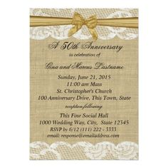 Burlap and Lace with Gold Bow 50th Anniversary Card
