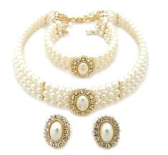 3 Rows Rhinestone Trimmed Simulated Pearl Choker Necklace, Bracelet, Pierced Earring 3 Set