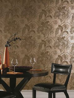 bronze-toned wallpaper with a soft metallic sheen
