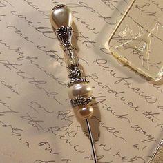 Meadow Pearls ivory Victorian hat pin ♥ by GaffneyGirlStudio on Etsy