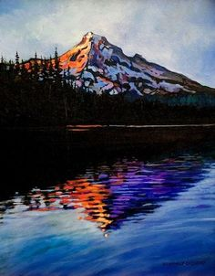This is beautiful Mountain in Oregon, reflecting into Lost Lake. The bright warm colors on the cool Sunrise Painting, Lake Painting, Watercolor Painting, Ocean Drawing, Water Drawing, Sunrise Mountain, Sunrise Lake, Mountain Drawing, Mountain Tattoo