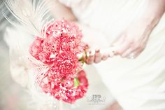 white peacock feathers, pink carnation, bridal bouquet, wedding flowers, vintage wedding