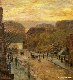 Spring on West 78th Street Artwork by Frederick Childe Hassam Hand-painted and Art Prints on canvas for sale,you can custom the size and frame