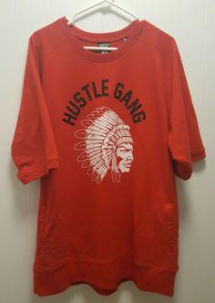 HUSTLE GANG Chief Short Sleeve Sweatshirt Red Sz Men's 3X Atlanta T.I. #HustleGang #Sweatshirt