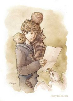 """""""It - it says here that you can only bring one pet?"""" Little Newt gets his Hogwarts letter. One of my patrons suggested that, up to 1908, that passage was actually missing from the official Hogwarts letter, and was only introduced in 1909, after a student had tried to bring two Puffskeins, a Kneazle, and, I assume, a baby Hippogriff (""""He can sleep under my bed; I've got him house-trained, he's no trouble!"""") by Jenny Dolfen Illustration"""