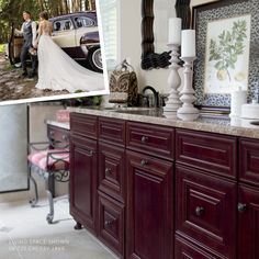 Today you will find our home furnished with things we cherish, including a kitchen with intensely rich, dark cabinets. Cherry Cabinets, Dark Cabinets, Cabinet Colors, Color Stories, Java, Living Spaces, Doors, Storage, Kitchen