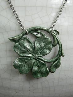 IRELAND -- aged silver with green patina -- Clover, Irish, Celtic Shamrock Necklace by Crow Haven Road Irish Celtic, Celtic Knot, Celtic Shamrock, Irish Jewelry, Celtic Tattoos, Sterling Silver Necklaces, Silver Bracelets, Silver Earrings, Tatting