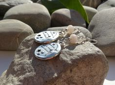 Boucles d'oreilles argent 925 et perles de quartz rose, bijoux médaillons et perles gemmes, boucles quartz rose, bijoux : Boucles d'oreille par lapassiondisabelle