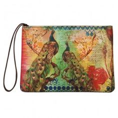 India Circus - Peacock Flower Utility Pouch : This beautiful utility pouch mesmerises you with the vivd imagery of an exquisite peacock in all it's glory.