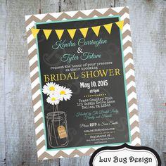 MASON JAR Bridal Shower Invitation Printable by luvbugdesign