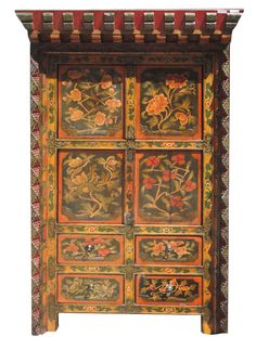 Tibetan Flower Shrine Top Accent Cabinet on Chairish.com