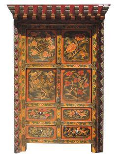 Tibetan Flower Shrine Top Accent Cabinet on Chairish.com