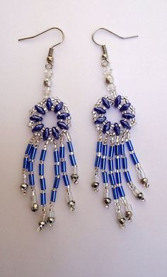 Beaded earrings Chandeleir style with opaque blue by JoolsbyAveril