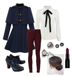 """""""Casual Steampunk"""" by rokinsox ❤ liked on Polyvore featuring Chie Mihara, 7 For All Mankind, Kevin Jewelers, Bling Jewelry, Belk & Co. and Smashbox"""