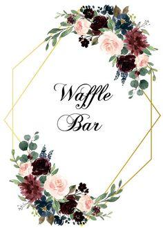 Burgundy and Navy blue Waffle Bar Sign, Waffle Bar Decor, Wedding Sign, Bridal S… - Hochzeit Ideen Navy Blue Wedding Cakes, Blue Bridal, Cool Wedding Cakes, Gold Bridal Showers, Bridal Shower Signs, Geometric Wedding, Floral Wedding, Waffle Bar, Blue Waffle
