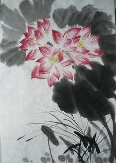 Ink Painting. Lotus