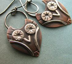 A new design for those that love owls and now in a smaller size! Mixed metals, copper and sterling silver lend depth and contrast to this pair of little