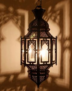 Found it!! Arabesque Hanging Lamp with Stained Glass. $145