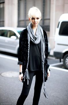 statement scarves elevate a basic black outfit