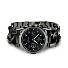 Geneva Chain Mens Womans Wristwatch Metal Black Titan Color Designer Watch NEW