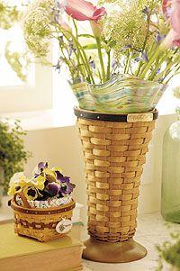 Brown and tan Longaberger baskets.