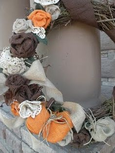 Grapevine & burlap wreath