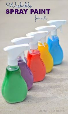 100% Washable spray paint for kids - what a fun way to make art outside this Summer!  Only takes seconds to make, too!