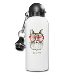 Hipster Cat, Water Bottle, Cats, Cat T Shirt, Ideas For Christmas, Drinking Water Bottle, Flasks, Drinking, Products