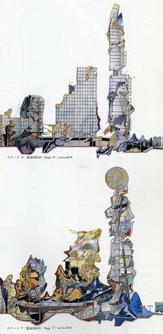 Architectural Drawing Design Peter Cook A U Extra Edition Dec 173 Paper Architecture, Architecture Drawings, Architecture Design, Architecture Portfolio, Parasitic Architecture, Art Conceptual, Peter Cook, Collages, Architectural Section