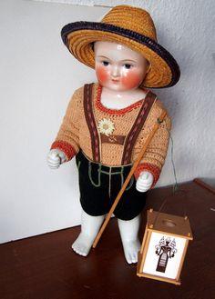 """Frozen Charlie / Charlotte Doll • 15"""" vintage porcelaine antique • german doll"""